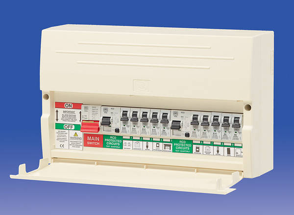 MKK7666SP 10 way dual split rcd consumer unit 63a rcds c w 10 mcb's 10 way fuse block at aneh.co