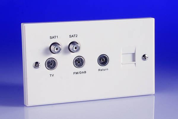 SAT1 SAT2 Tv Fm Dab quadplexer Module blanc projeté Euro Outlet