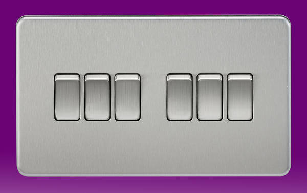 6 Gang 2 Way Light Switch Brushed Chrome