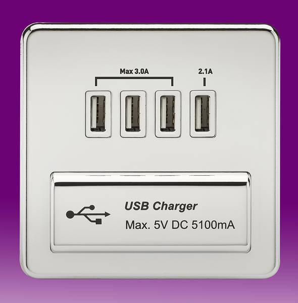 1 Gang Quad Usb Charger Outlet 5v Dc 5 1a