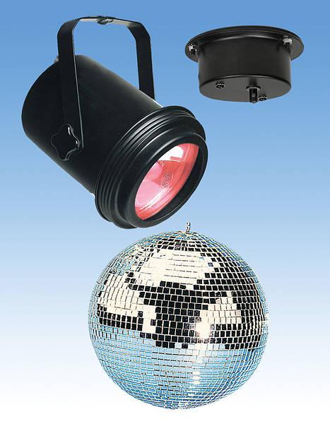 Mains 20cm Clear Mirror Ball And Spotlight, Mirror Ball Spotlight