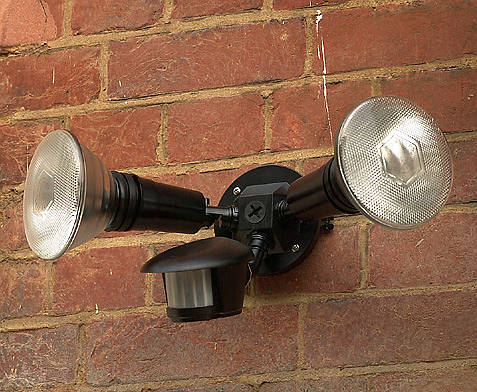 120w Twin Spotlight With Pir Black