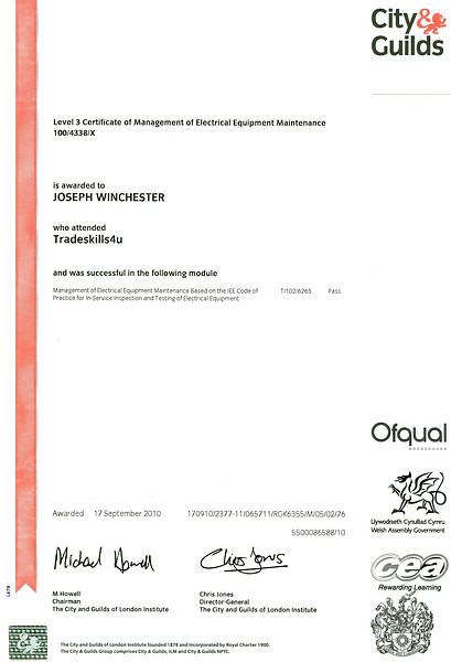 Certification Of Electrical Installations Level 3 City