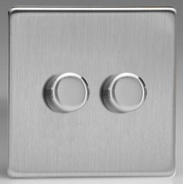 V Pro Dimmer >> Brushed Steel Screwless Dimmers