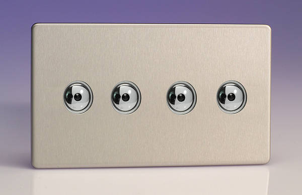 4 Gang 2 Way 250w IQ Master Remote Touch Dimmer Switch Brushed Steel
