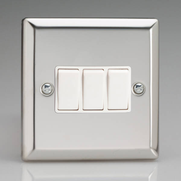 3 Gang 2 Way Light Switch - Chrome