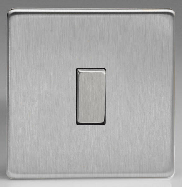 1 Gang 2 Way Light Switch Brushed Stainless Steel