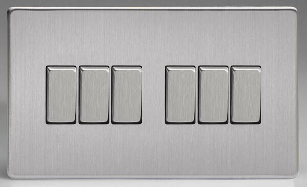 6 Gang 2 Way Light Switch Brushed Stainless Steel