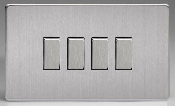 4 Gang 2 way Light Switch - Brushed Stainless Steel