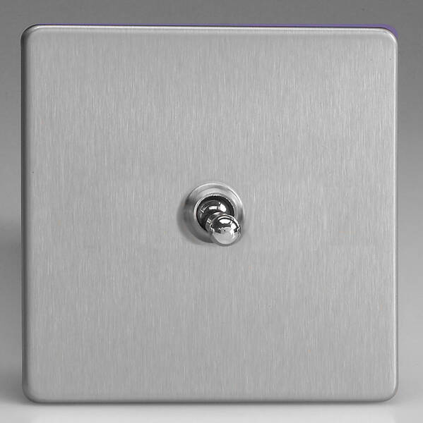 1 Gang 2 Way Toggle Light Switch Brushed Stainless Steel