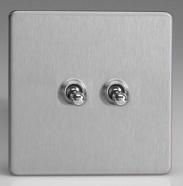 2 Gang 2 Way Toggle Light Switch Brushed Stainless Steel