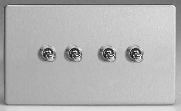4 Gang 2 Way Toggle Light Switch Brushed Stainless Steel