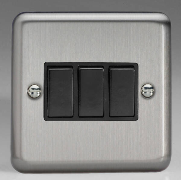 3 Gang 2 Way Light Switch Brushed Chrome Black Insert