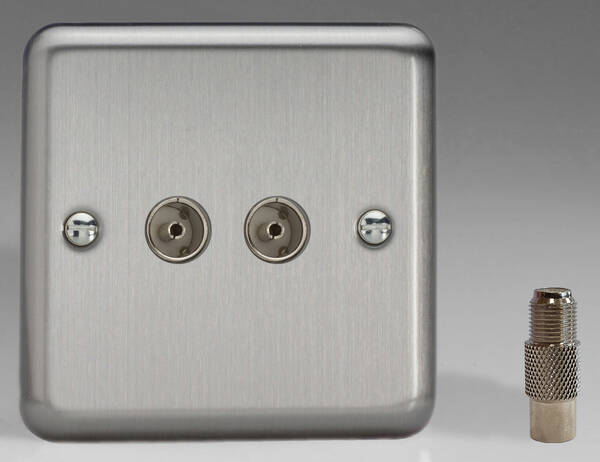 Direct Tv Satellite >> Twin TV Coaxial Aerial & Satellite Socket - Brushed Chrome
