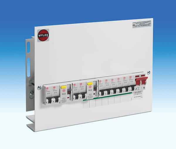10 Way Dual Rcd Skeleton Consumer Unit   100a Mains Switch
