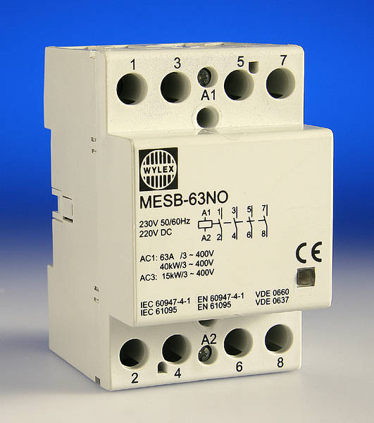 Normally Open Switch >> 63 Amp 4 Pole Contactor - 3 Module