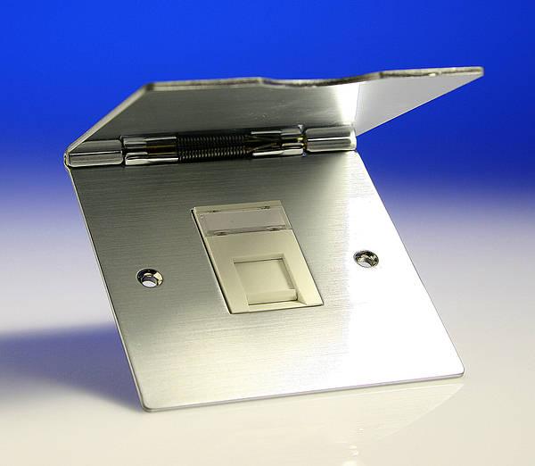 Single Rj45 Data Outlet Floor Socket Satin Chrome